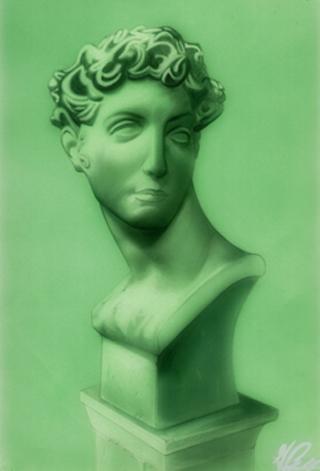 Busto romano en aerografia