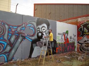 David guardia en accion. Grafitti.