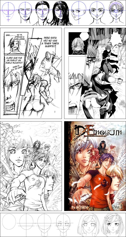 Trabajos de la profesora del curso de manga en Academia C10.