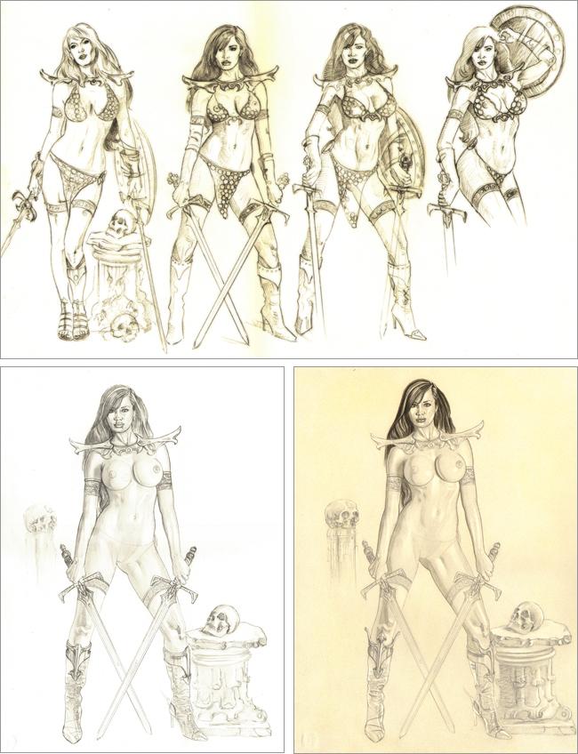 Red Sonja. Ilustracion de aerografia de Carlos Diez.