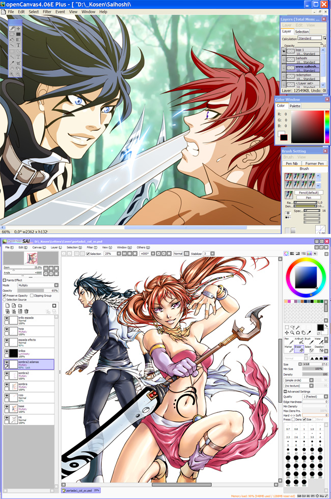 Coloreando cómic manga