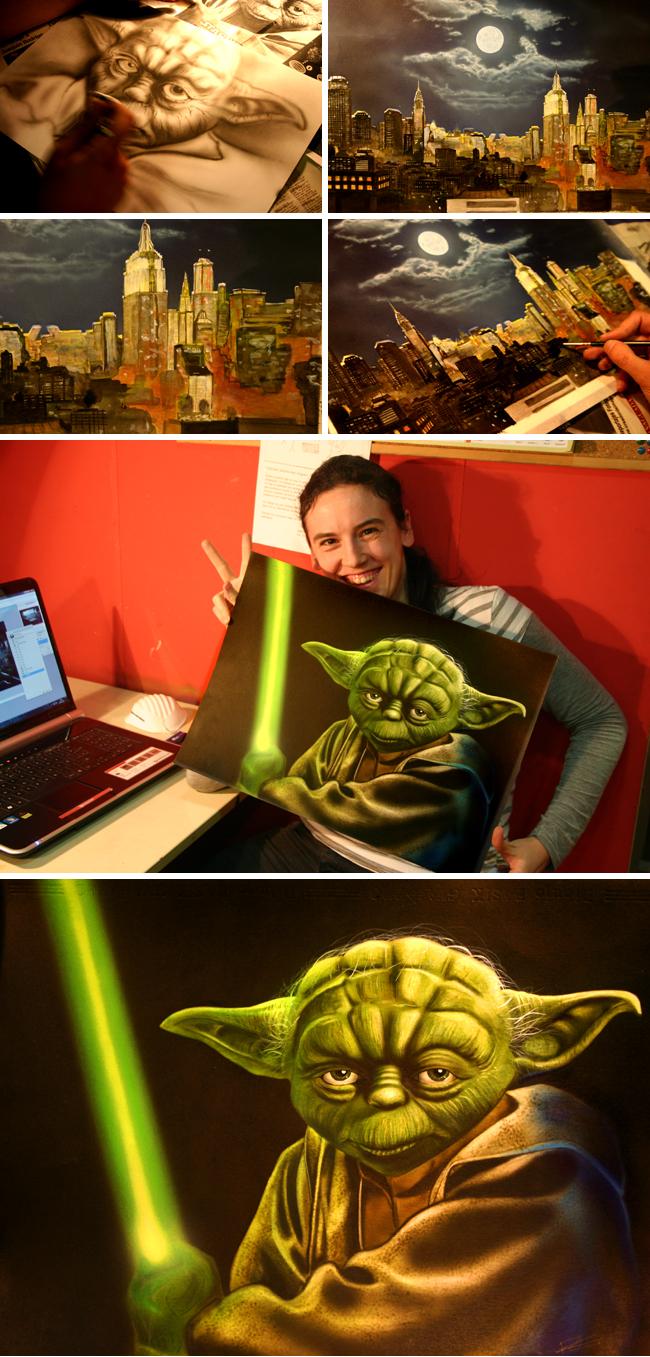 Yoda ilustracion aerografia academia c10 carlos diez 1