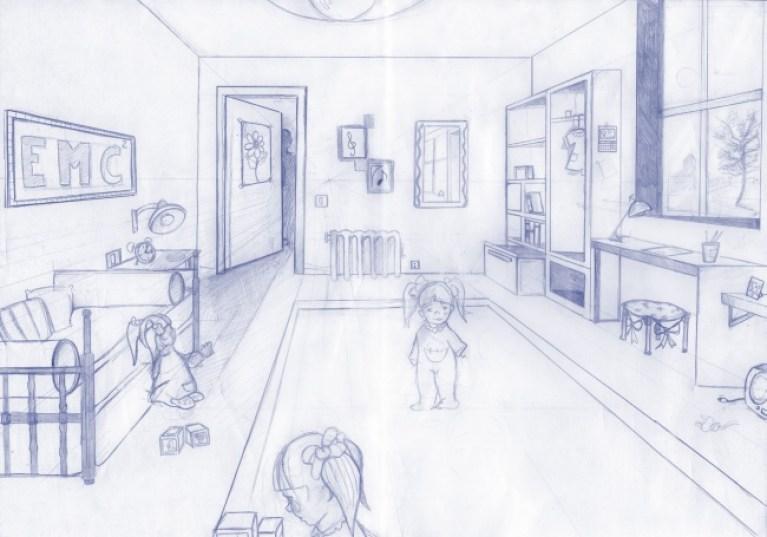 Perspectiva de una habitación en Academia C10.