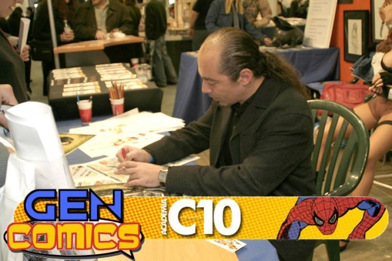 Carlos DIez Ilustrador firmando en expocomic, feria del comic y el tebeo de Madrid