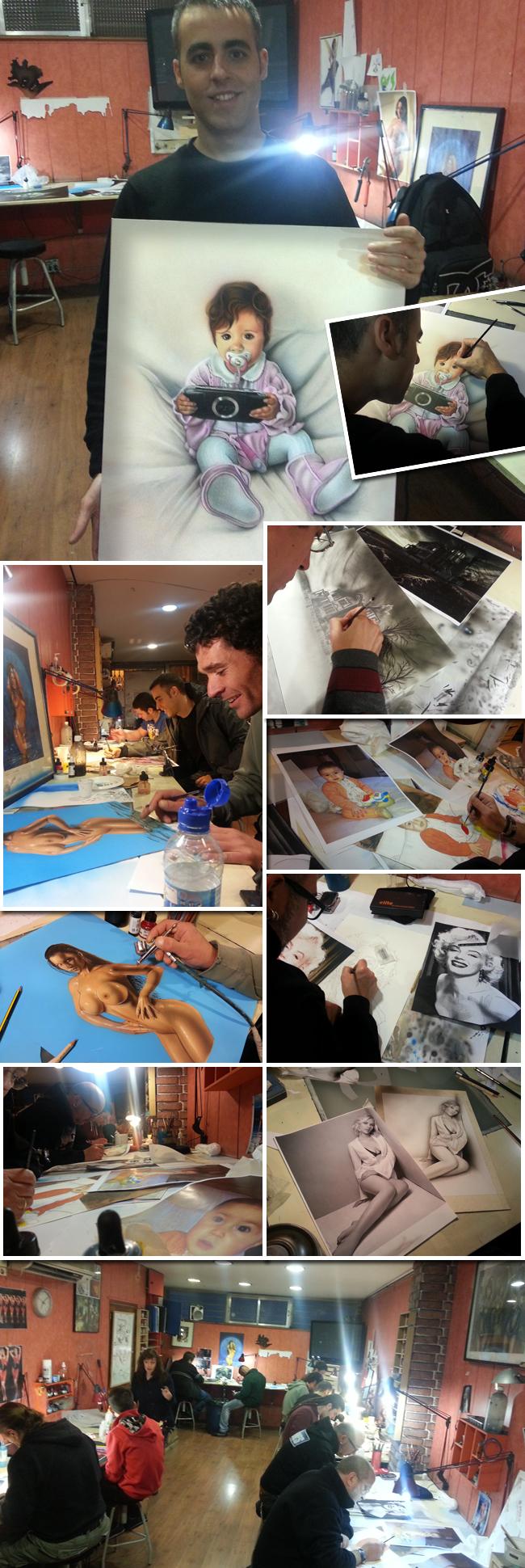 Alumnos trabajando en aulas de los cursos de aerografia de Carlos Diez en la Academia de dibujo y comic C10