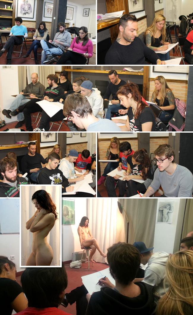 Dibujo del natural-1-modelo-bellas artes-alumnos-cursos-aerografia-ilustracion-comic-academia-c10-madrid