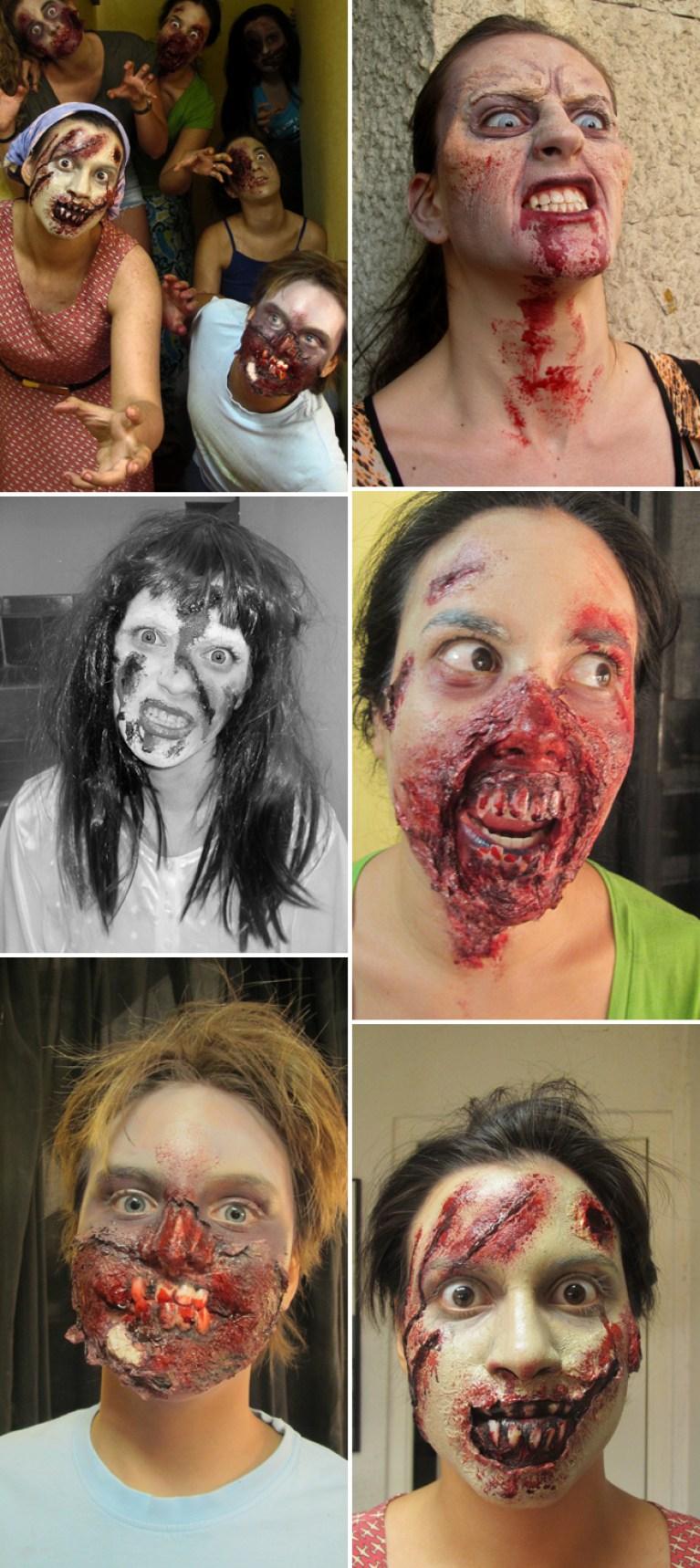 Trabajos de alumnos Academia c10 Carlos Diez. Zombies, canibalismo, sangre, trabajos fx efectos especiales de maquillaje para videojuegos cine, teatro y television.
