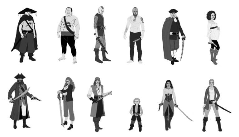 seis_parejas_piratas_silueta_arte_digital_diseno_videojuegos_concept_art