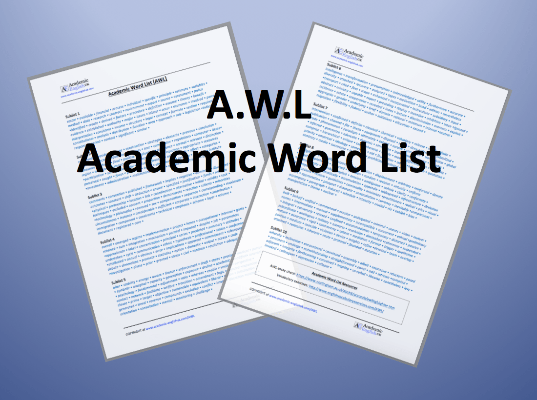 Academic Word List Awl Awl Lessons Amp Awl Worksheets