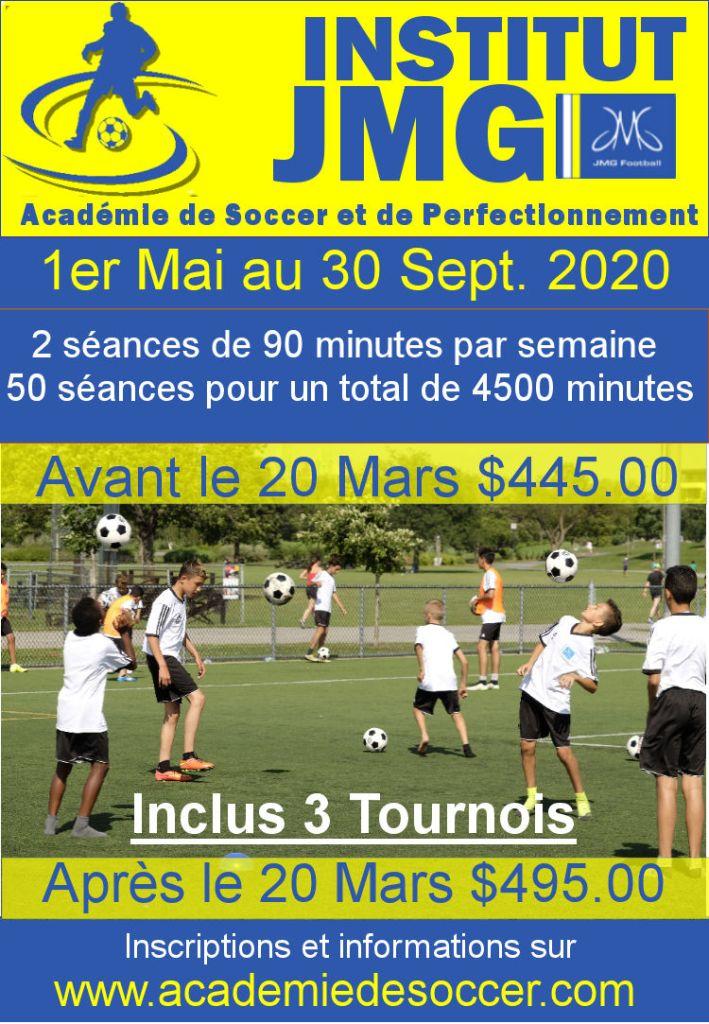 Inscription Académie de Soccer Institut JMG