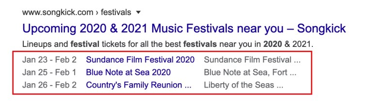 some examples for events search results