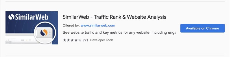 similarweb is available on chrome marketplace with its extension