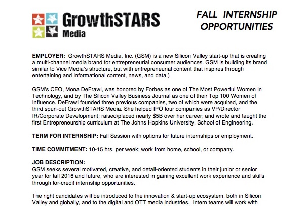 GrowthSTARS Fall 2016 Internship Posting