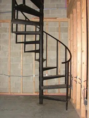 Renovating Your Attic And Need To Conserve Space Use A Spiral   Spiral Staircase Into Basement   Stair Railing   Attic Stairs   Stair Treads   Stairway   Staircase Ideas