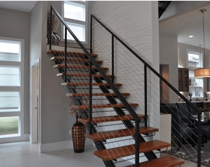 Acadia Stairs Metal And Wood Staircase | Iron And Wood Staircase | Internal | Farmhouse | Free Standing Wood | Modern | Design