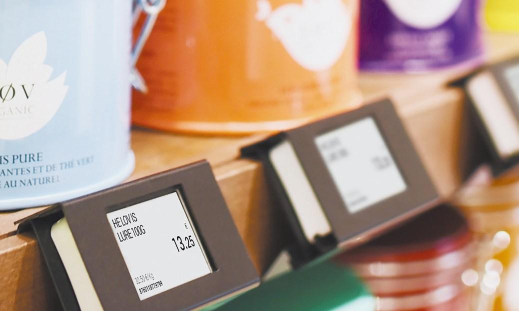 Un exemple d'étiquette électronique vendue par SES-Imagotag. - Gracieuseté