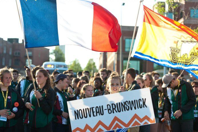 L'équipe du Nouveau-Brunswick fait son entrée au parc Riverain sous les acclamations de la foule. - Collaboration spéciale: Marc Grandmaison
