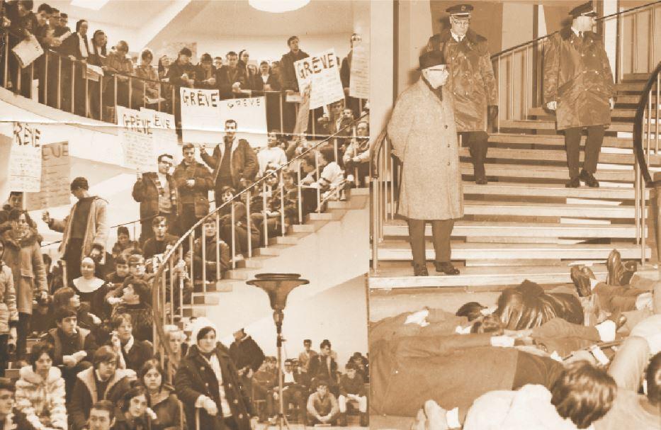 Photo de gauche: Manifestation étudiante à la rotonde de l'Université de Moncton, le 12 février 1968. - Gracieuseté: Archives institutionnelles de l'Université de Moncton – UM-8453 (publiée dans L'Évangéline, le 13 février 1968) Photo de droite: Le chef du service de sécurité, M. Thivierge, accompagné par deux policiers, demande aux étudiants de quitter l'édifice lors de la manifestation étudiante à la rotonde de l'Université de Moncton, en février 1968. - Gracieuseté: Archives institutionnelles de l'Université de Moncton – UM-8456 (publié dans L'Évangéline, le 20 janvier 1969, p. 7)