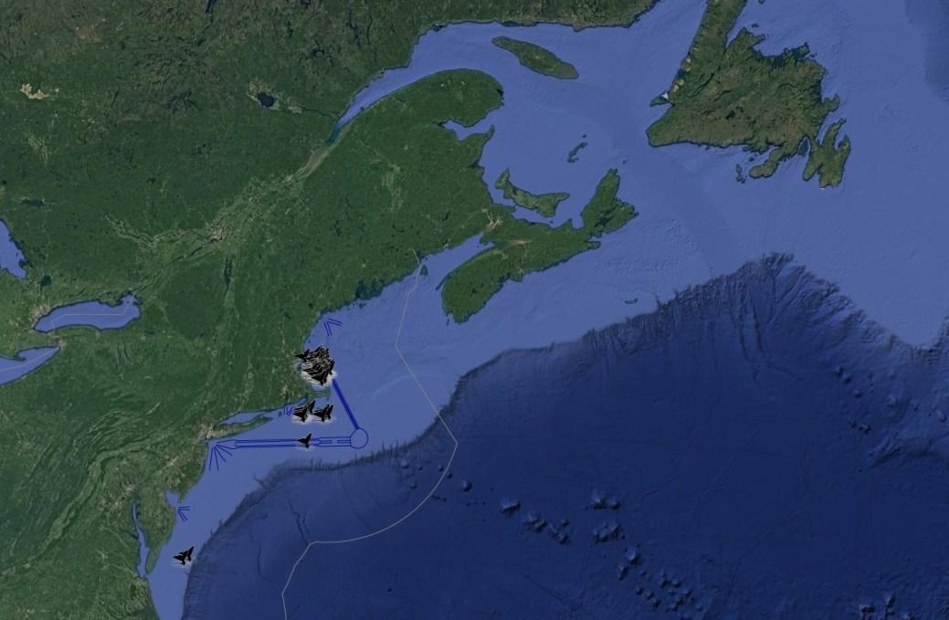 Une carte des observations des baleines noires au cours des deux dernières semaines. - Image gracieuseté: National Oceanic and Atmospheric Administration