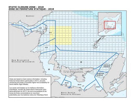 La zone de fermeture statique touche environ 2400 kilomètres carrés dans l'est de la zone de pêche 23. Elle entre en vigueur le 28 avril, soit deux jours avant la date d'ouverture provisoire de la pêche. - Gracieuseté