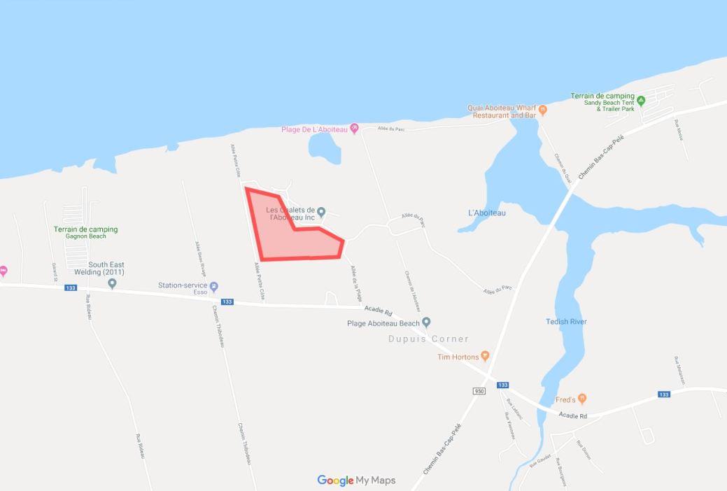 En rouge, sur la carte, est l'endroit approximatif du projet. -Google Maps