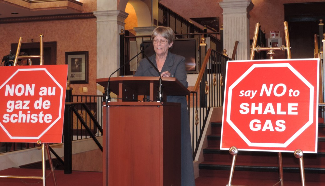 Denise Melanson, porte-parole de l'Alliance anti-gaz de schiste du Nouveau-Brunswick, rappelle que si les porte-paroles de l'industrie du pétrole du Québec se vantent d'avoir 134 études qui les appuient, son équipe en a plus de 1300 qui les contredisent. - Archives