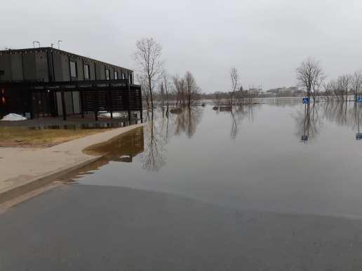 Le niveau du fleuve Saint-Jean a dépassé le point d'inondation à Fredericton dimanche matin. - Gracieuseté