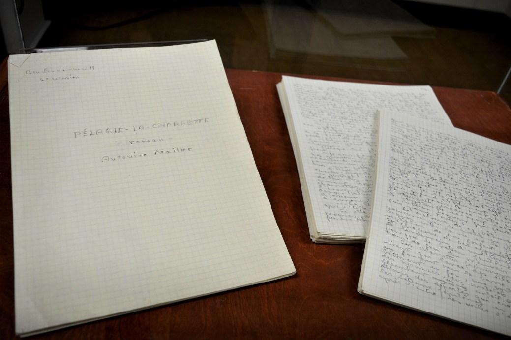 Un des manuscrits du roman Pélagie-la-Charrette est actuellement exposé à la bibliothèque de l'Université de Moncton - Acadie Nouvelle: Simon Delattre