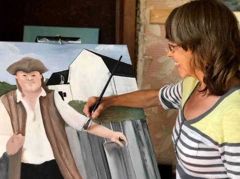 Melda Hébert en action. Artiste de la région Chaleur. Hommage à Charles Doucet. - Gracieuseté
