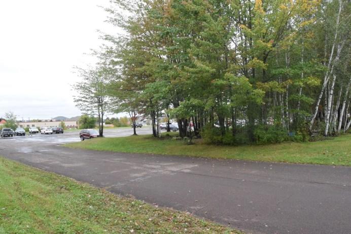 Des adolescents qui fument et vapotent se retrouvent derrières les arbres, sur une aire de stationnement de l'école Mathieu-Martin de Dieppe. - Acadie Nouvelle: Cédric Thévenin