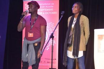 Aziz Siten'k et Mariam Koita du Mali lors de leur performance à l'ouverture du Festival international de slam/poésie en Acadie. Acadie Nouvelle: Sylvie Mousseau