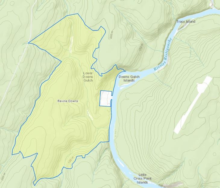 Une carte du gouvernement provincial indique une zone naturelle protégée entourant un chalet de la famille Irving. - Gracieuseté