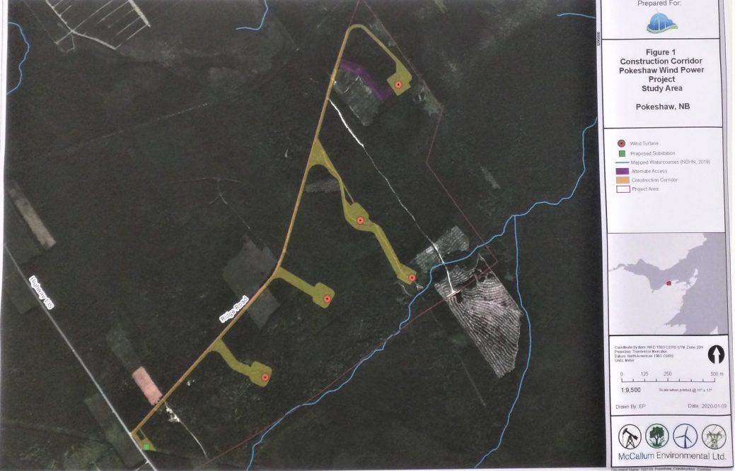Les points rouges correspondent à l'emplacement éventuel des éoliennes qui seront érigés à Pokeshaw. - Acadie Nouvelle: David Caron