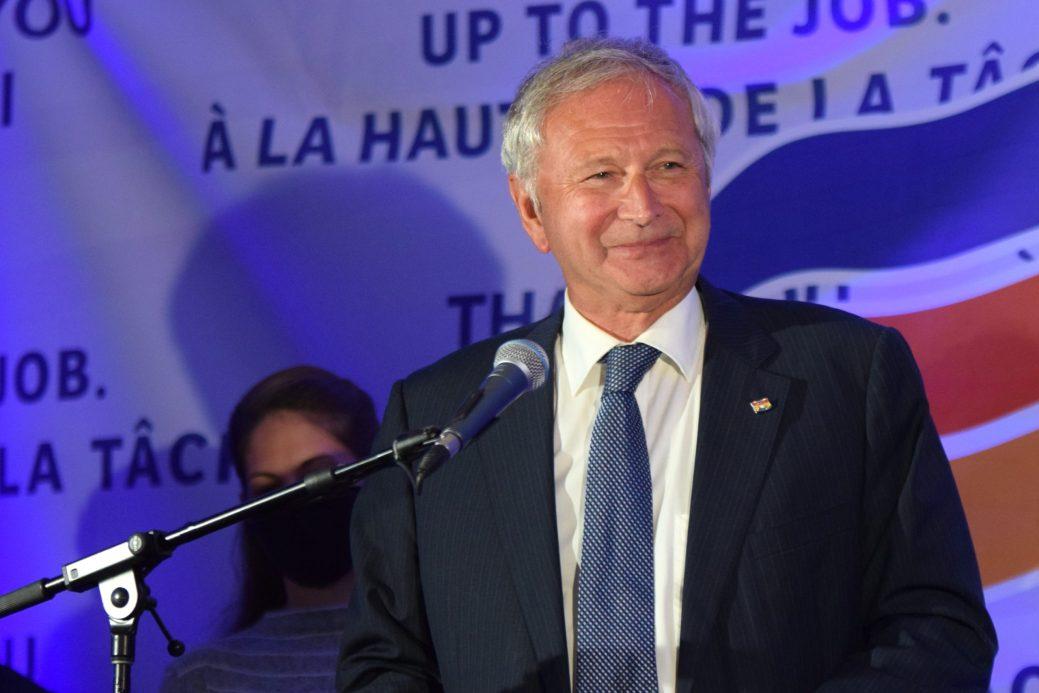 Blaine Higgs, livrant son discours de la victoire, lundi soir. - Acadie Nouvelle: Pascal Raiche-Nogue