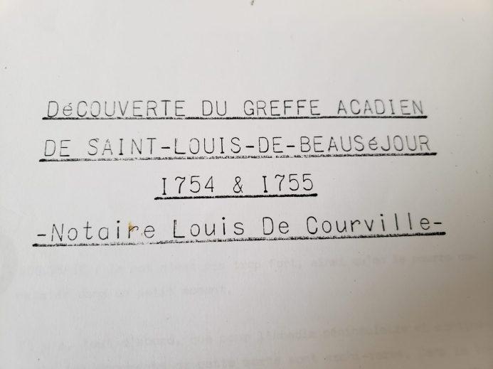 Page titre des actes du notaire Louis de Courville aux archives de Montréal