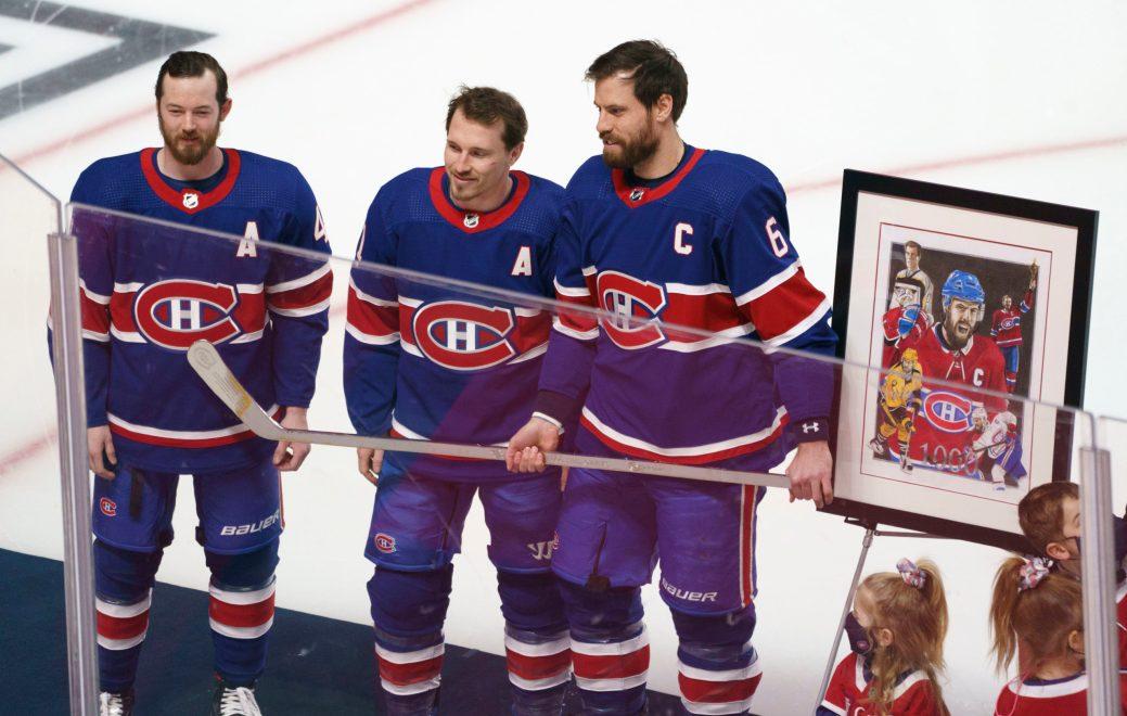Avant la partie, le capitaine du Canadien Shea Weber a été honoré pour son 1000e match. - PC