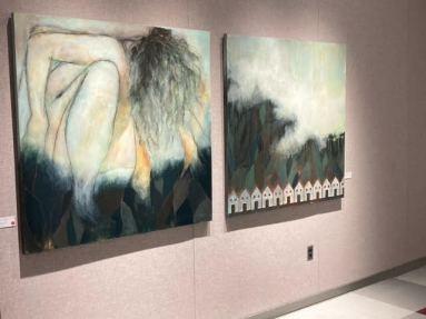 Deux oeuvres de l'exposition Ce long voyage d'intérieur présentée à la Galerie ARTcadienne. - Gracieuseté: Line Thibodeau