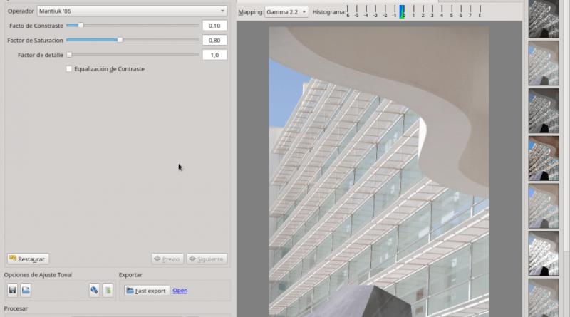 Mapeo de tonos interactivo en Luminance HDR