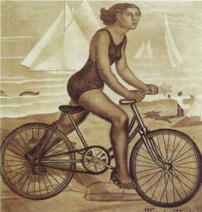 Ciclista na praia