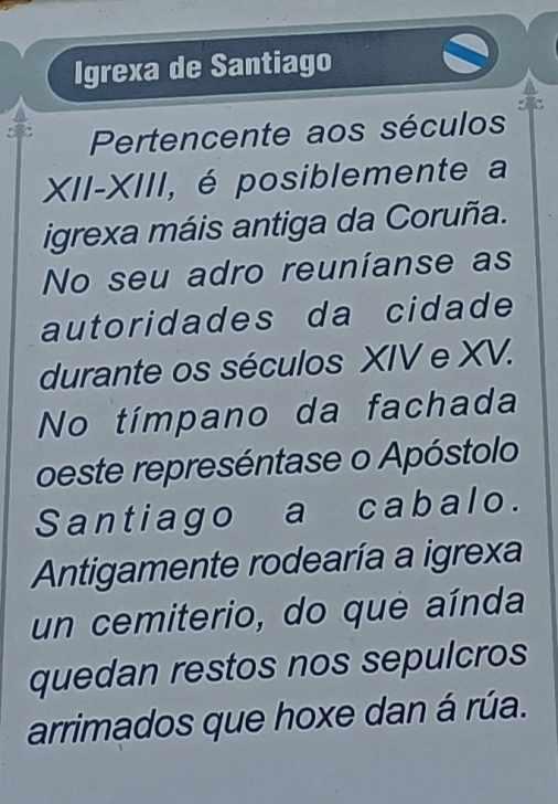 Placa na Igrexa de Santiago