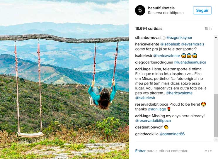 Adriana Lage no Instagram do Beautiful Hotels, Reserva do Ibitipoca