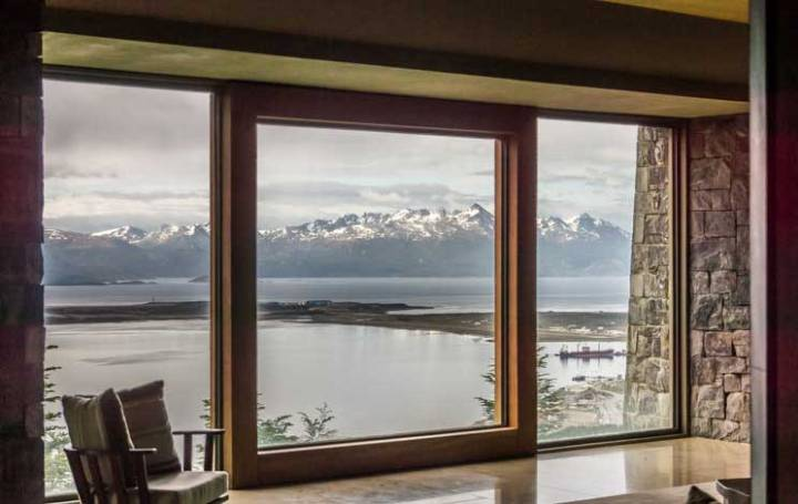Lounge no Arakur Ushuaia Resort & SPA, o hotel no fim do mundo. Foto: Adriana Lage