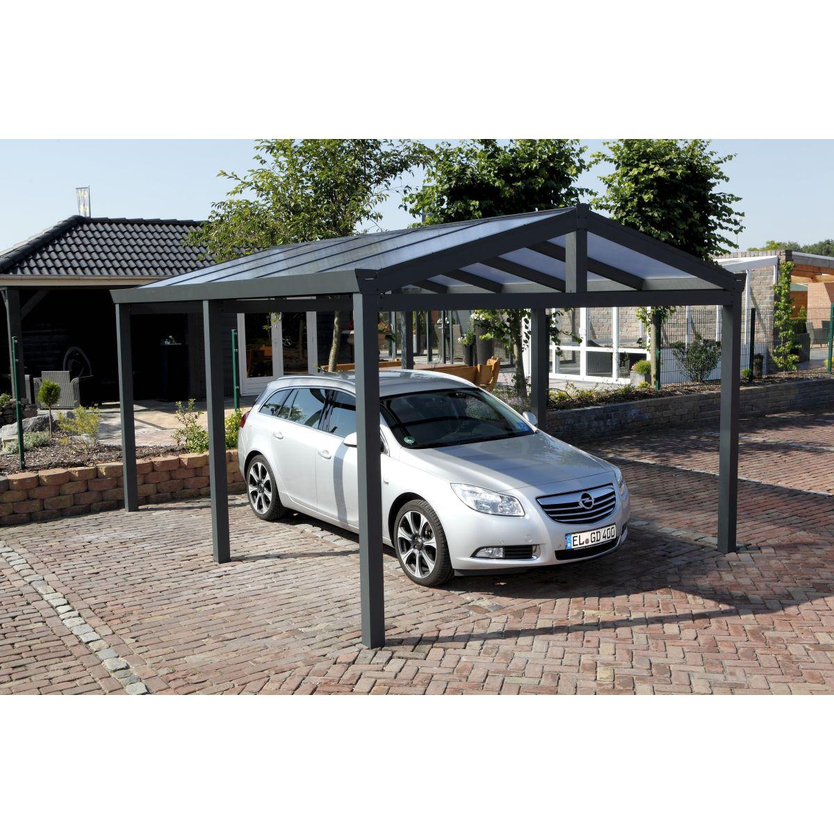 garden dreams abri voiture carport aluminium double pente anthracite 368x500