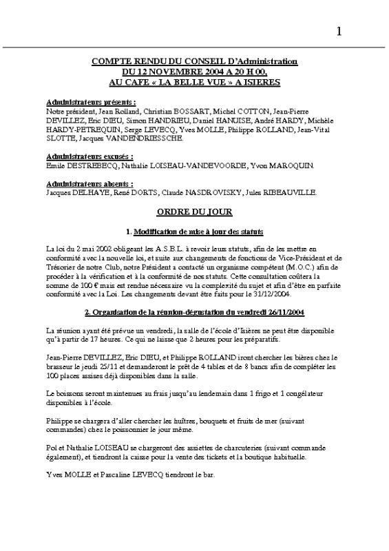 Réunion Conseil d'Administration – 12 novembre 2004