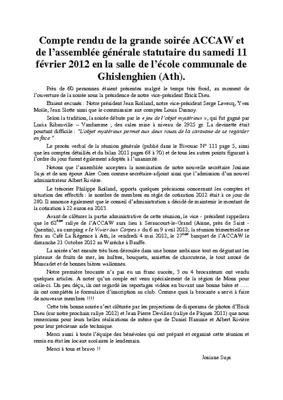 Assemblée Générale – 11 février 2012
