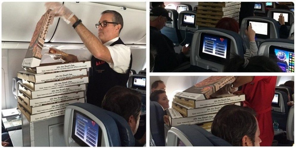 Delta Airlines giving out pizza