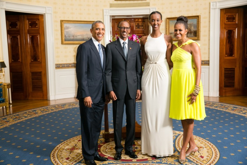 President Barack Obama and First Lady Michelle Obama greet His Excellency Paul Kagame, President of the Republic of Rwanda, and his daughter, in the Blue Room during a U.S.-Africa Leaders Summit dinner at the White House, Aug. 5, 2014. (Official White House Photo by Amanda Lucidon)