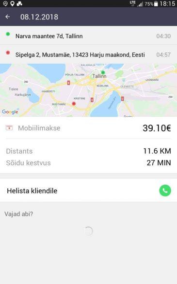 Narva maanteelt Mustamäele. Ligi 40 eurot