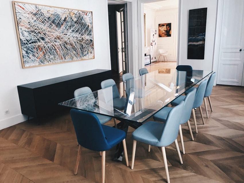 Ensemble de chaise modern en velours