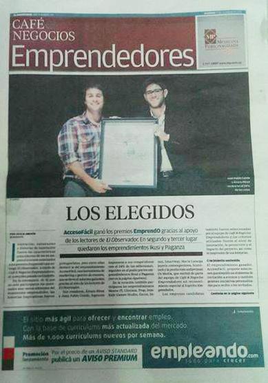AccesoFácil ganadores del premio EmprendO de la sección Café & Negocios Emprendedores del Diario El Observador.